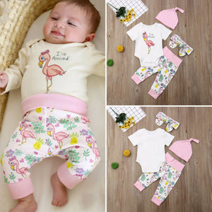 New Fashion Kids Infant Baby Girl Boy Romper Short Sleeve O-Neck Bodysuit + Long Pants Flamingo 4PCS Clothes Set Outfits - Buy Babby
