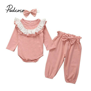 Newborn Baby Girl Clothes Autumn Winter Lace Ruffles Outfit Long Sleeve O-Neck Bodysuits Pants Headband Infant Girl Clothing Set - Buy Babby