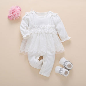 Baby Girl Clothes Fall Cotton Lace Princess Style Baby Jumpsuit - Buy Babby