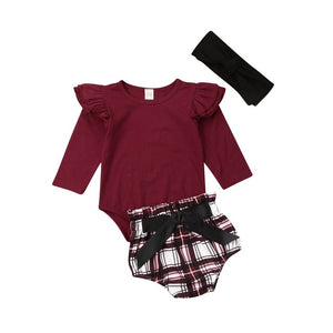 Newborn Baby Girl Outfits Clothes Solid Long Fly Sleeve Romper Tops Jumpsuit Plaid Shorts Pants Headband 3PCS Outfit Set - Buy Babby