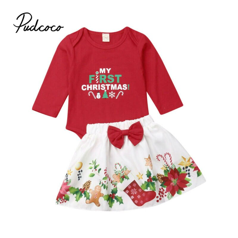 Newborn Baby Girls Clothes My First Christmas baptism Bodysuit Bow Decor Tutu Skirt Set 1st One Year Infant Baby Girl Outfits - Buy Babby