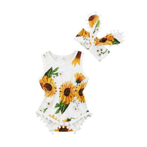 Newborn Baby Girls Clothes Sunflower print sleeveless round neck Bodysuit Bowknot Headband 2pcs cotton casual summer set