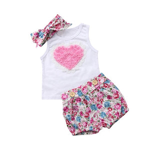 Newborn Baby Kids Girl Cotton T-shirt Dress Pants Outfit Baby Clothing Baby Girls Sleeveless T-shirt Shorts Clothes Set