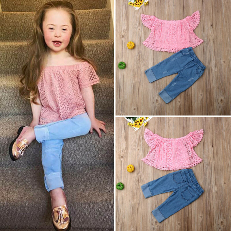 Newborn Fashion Pink Solid T-Shirt Outfits-Set Toddler Girl Baby Off-Shoulder Lace Tops and Denim Jean Outfit 2pcs Kids - Buy Babby