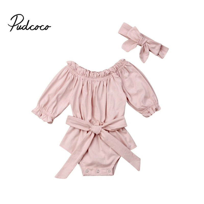 Newborn Infant Baby Girl 2pcs Outfit Pink Jumpsuit Bodysuit Clothes Set Autumn Spring Headband 0-24M 2pcs Cotton - Buy Babby