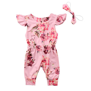 Newborn Infant Baby Girl Floral Sleeveless Cotton Romper Jumpsuit Headband 2Pcs Outfit Clothes
