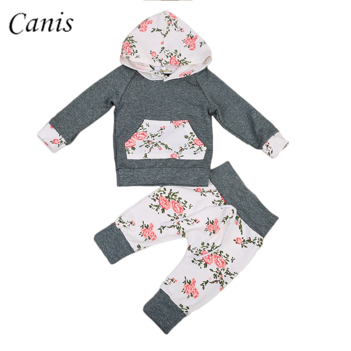 Newborn Infant Toddler Baby Boy Girl Floral Clothes Hooded Tops + Long Pants Leggings 2pcs Outfits Set 0-24M
