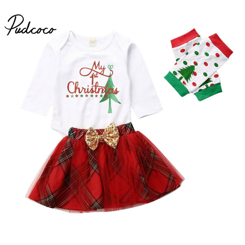 Newborn Toddler Infant Baby Girls Romper Long Sleeve Tops Tutu Skirts Socks 3PCS Outfits Set Casual My 1st Christmas Clothes - Buy Babby