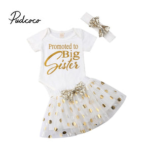 Newest Fashion 3pcs Newborn Toddler Infant Kid Baby Girl Clothes White Letter Printed T-shirt Tops+Dot Skirt scarf Outfits Set - Buy Babby