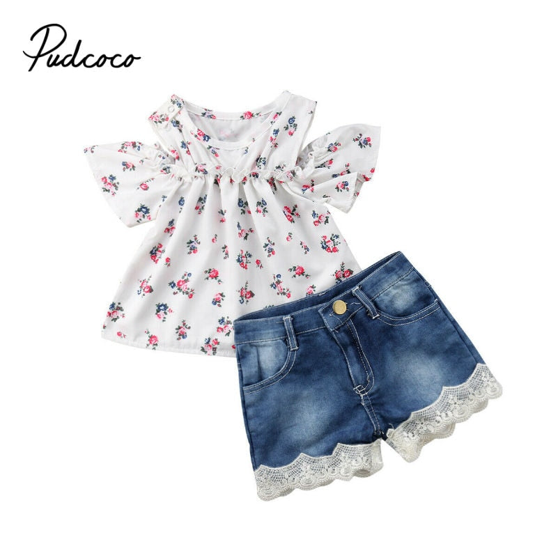 Newest Newborn Baby Girls Tops +Flower Denim Shorts 2 Pieces Sets Clothes Outfits Set Casual Clothes 6M-4T conjunto infantil - Buy Babby