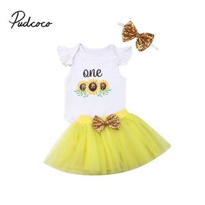 One Year Girl Baby Birthday Dress Romper+Tutu Dress Kids Clothes Baby Baptism First Birthday Outfits Christening Gown Sunflower