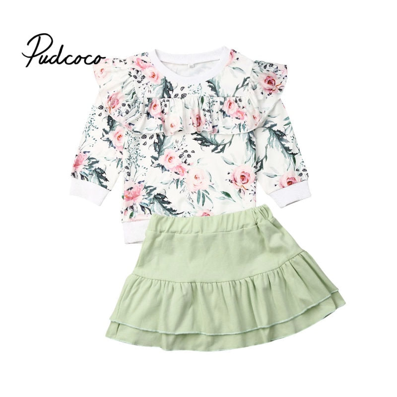 Princess Girls Clothes 2020 Spring Autumn Kids Clothes Fly Long Sleeve Tops+Green Tutu Skirts Outfit Children Clothing Suit - Buy Babby