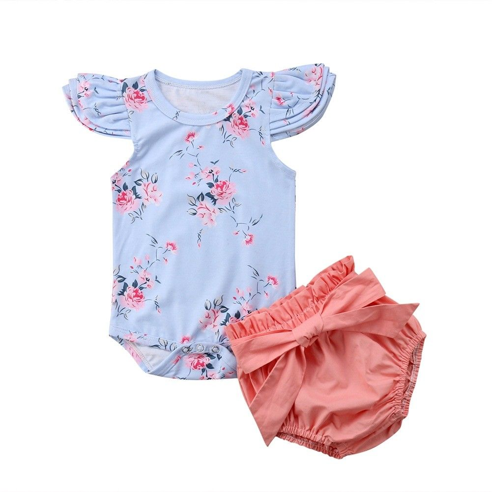 Princess Infant Baby Girl Florla Clothes Set Flying Sleeves Top Romper Shorts Pants Bow Outfit Summer Cute Baby Girl Clothing - Buy Babby
