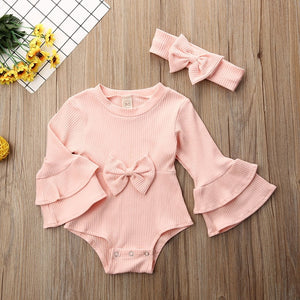 Pudcoco 2019 Brand New Infant Baby Girls Bodysuit With Headband 2Pcs Flare Sleeve Jumpsuit Solid Sunsuit Outfits Set 0-24 Months - Buy Babby