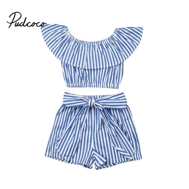 Pudcoco 2019 New Fashion Toddler Kids Baby Girls Clothing Blue Striped Short Sleeve Tops + Shorts 2Pcs Sets Clothes 1-6Y - Buy Babby