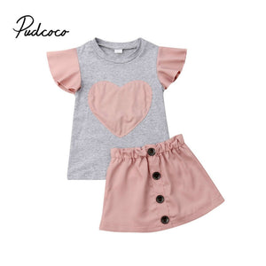 Pudcoco Girl Set 1-6Y 2pcs Girls Heart Print T-shirt+Solid Pink Skirts+Outfit Princess Dress Summer Clothes - Buy Babby