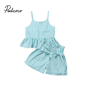Summer Baby Girls Clothes 2019 Brand New Strap Stripe Bow-knot Belt Girls' Clothing Sets Tops+Shorts 6M-6Y 80-120 Size Drop Ship