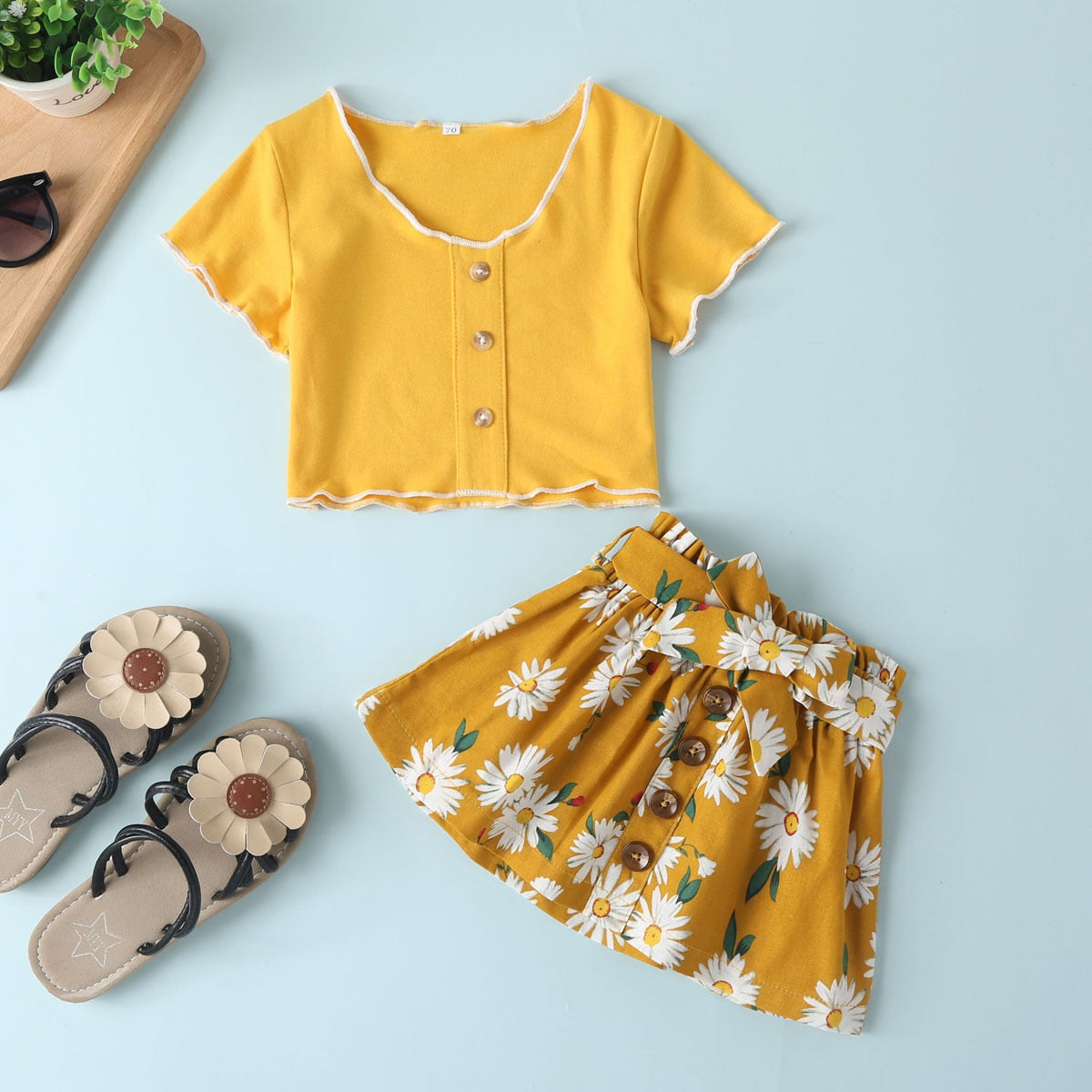 Toddler Baby Girl Casual Outfits Clothes Set Flying Sleeve Yellow Solid Ruffles Tops+Floral Skirt 2PCS Children Clothes Set - Buy Babby