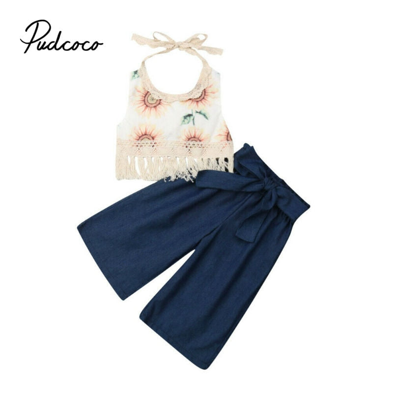 Toddler Baby Girl Clothes Sunflower Print Tops Crop Long Pants Summer Girls Outfits Tassels Girls Set Clothing Kids Clothes Set - Buy Babby