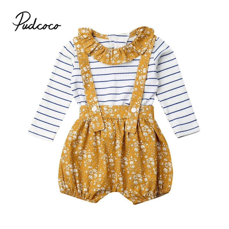 Toddler Baby Kids Girl Clothes Sets Autumn Girls Outfit Clothing Flower Collar Striped Sweater Long Sleeve Tops+Overalls Suit - Buy Babby