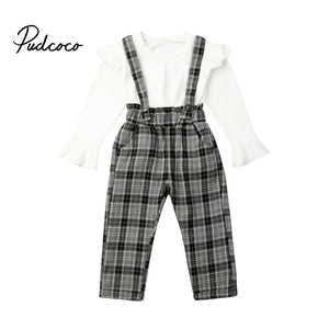 Toddler Baby Kids Girl Plaid Clothes Sets Autumn Girls Outfit Clothing Shirt Long Sleeve White Tops+Long Pants 2PCS Set 6M-5T - Buy Babby