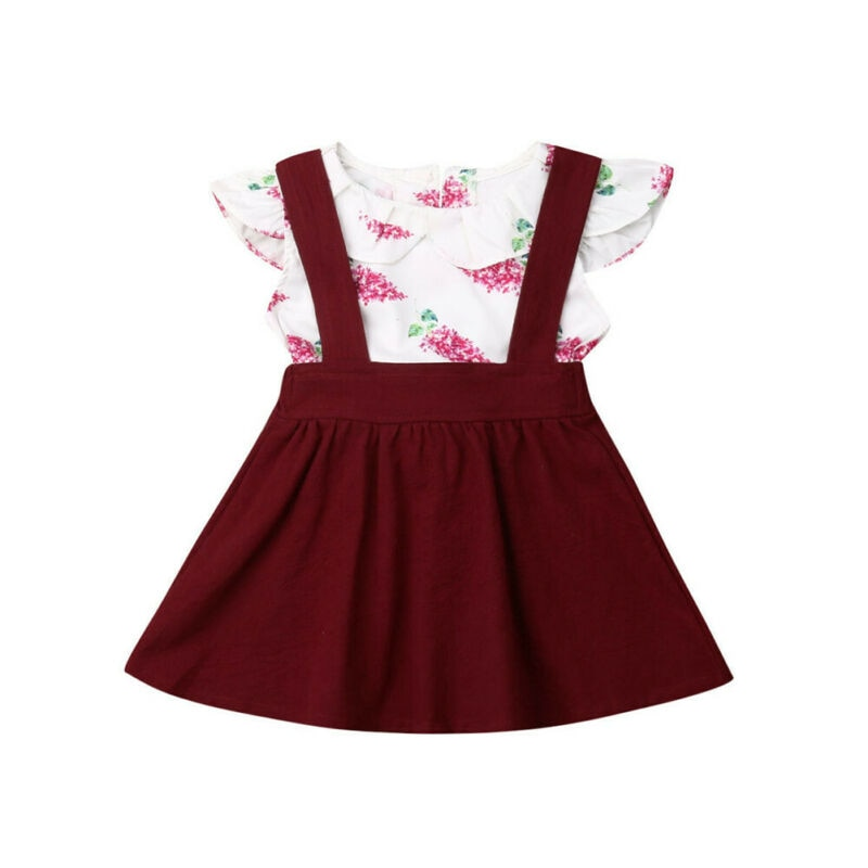 Toddler Kid Baby Girl Floral Ruffle Top Shirt Suspender Tutu Skirt Shorts Clothes 2PCS Princess Casual Style Outfit Set - Buy Babby