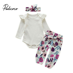 Toddler Kid Baby Girls Ruffled Floral Top Bow Pants Hair Band 3Pcs Outfits Sets girls clothing newborn clothes 0-24 Months - Buy Babby