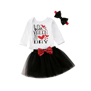 Toddler Kids Baby Girls Valentine clothes Fashion Letter print Long Sleeve Top+Mesh Skirts+Headbands boy Valentine Outfits 0-24M - Buy Babby