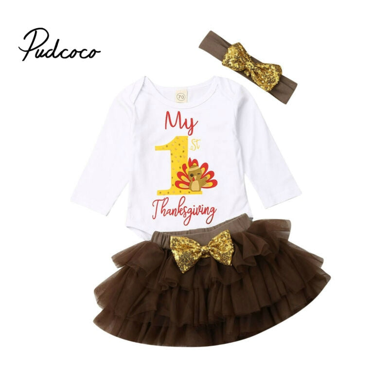 Toddler Kids Clothes Sets Infant Baby Girls Bodysuit Letter Print Long Sleeve Tops Tutu Skirt 1 st Thankgiving Days Outfits Set - Buy Babby