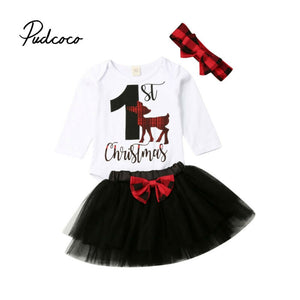 Toddler Kids Clothes Sets Infant Baby Girls Bodysuit Letter Print Long Sleeve Tops Tutu Skirt 1 st Christmas Deer Outfits Set - Buy Babby
