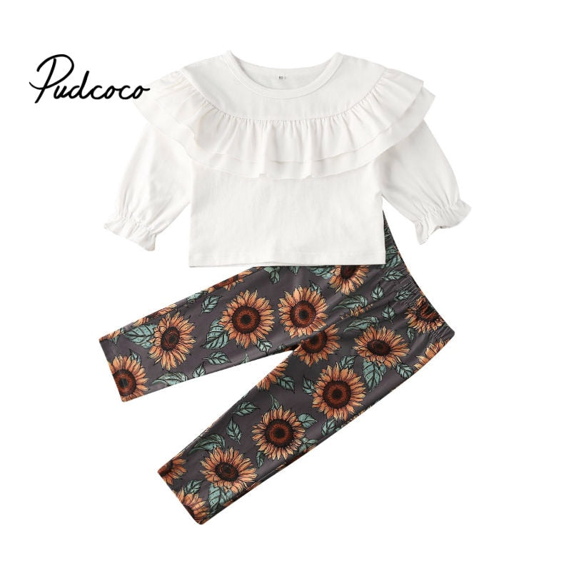 Two Piece Set Toddler Kids Baby Girls Clothes Long Sleeve Ruffles T-shirts Tops+ Floral Pants Set Cute Girl Outfit Sping 2020 - Buy Babby
