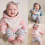 Autumn Winter Newborn Kids Baby Boy Girl Outfits Clothes Long Sleeve Hooded Top Striped Pants Baby Outfits Clothing Set - Buy Babby