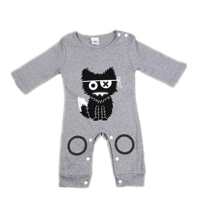 Baby Boy Girl Romper Summer Cat Jumpsuit Long Sleeve Cotton - Buy Babby
