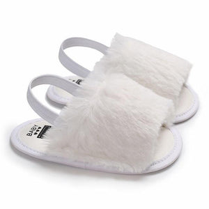 Baby Girls Sandals Faux Fur Slides Elastic Back Strap Flats Slippers Toddler Infant Shoes - Buy Babby