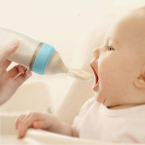 Baby Squeezing Feeding Spoon Silicone Training Scoop Rice Cereal Food Tableware Supplement Feeder Extrusion - Buy Babby