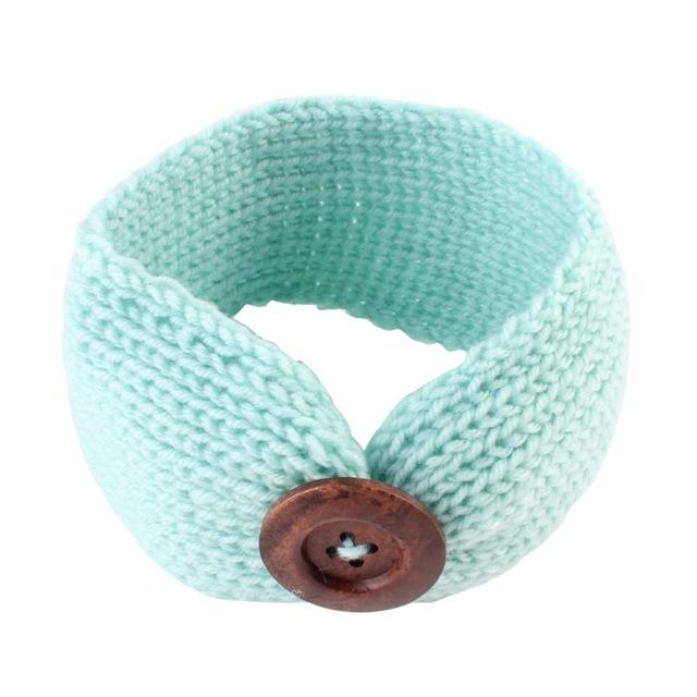 Baby Turban Headbands Warm Button Crochet Knitted Headwear Hair Accessories - Buy Babby