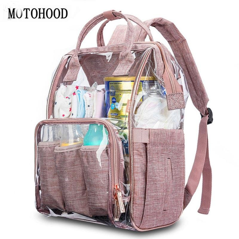 Clear Diaper Bag Backpack Transparent Nappy Bag with Changing Pad Pocket - Buy Babby