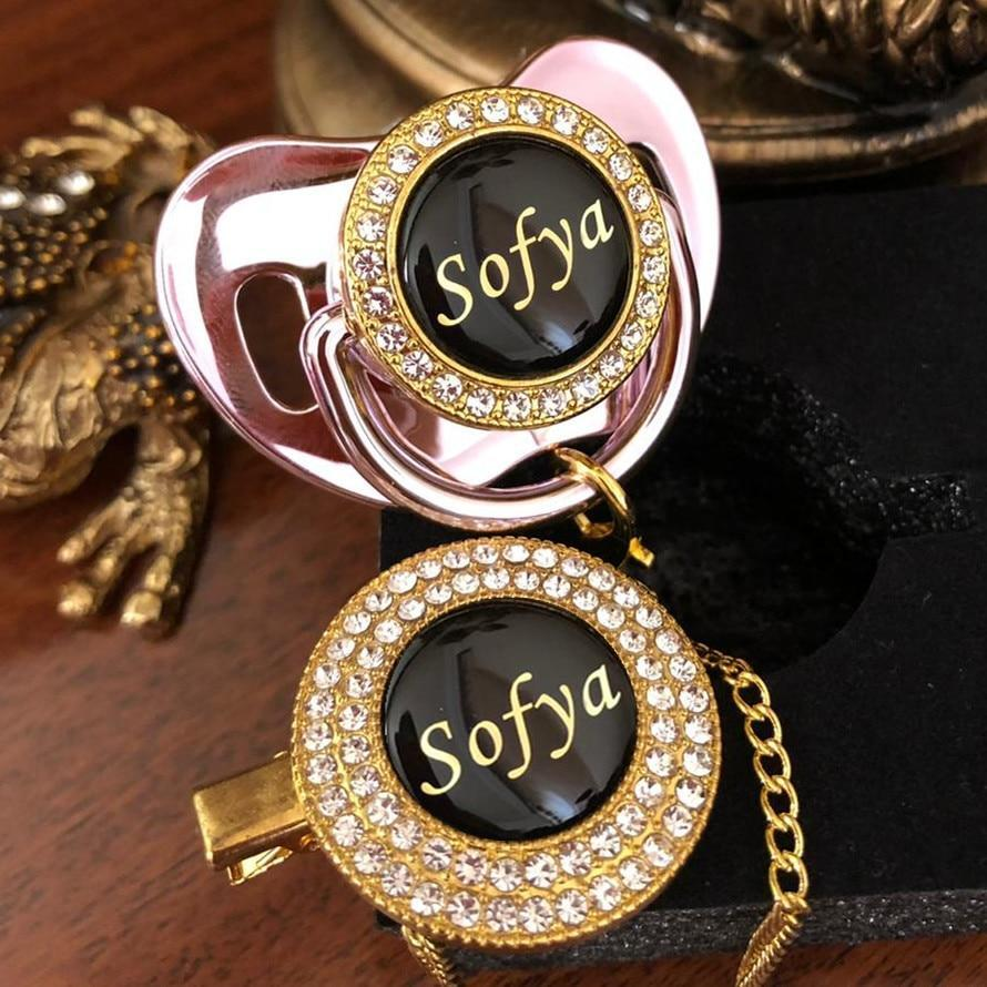 Personalized Custom Name Golden Bling Pacifier with Rhinestone And Pacifier Clip Unique Luxury Dummy Bpa Free Baby - Buy Babby