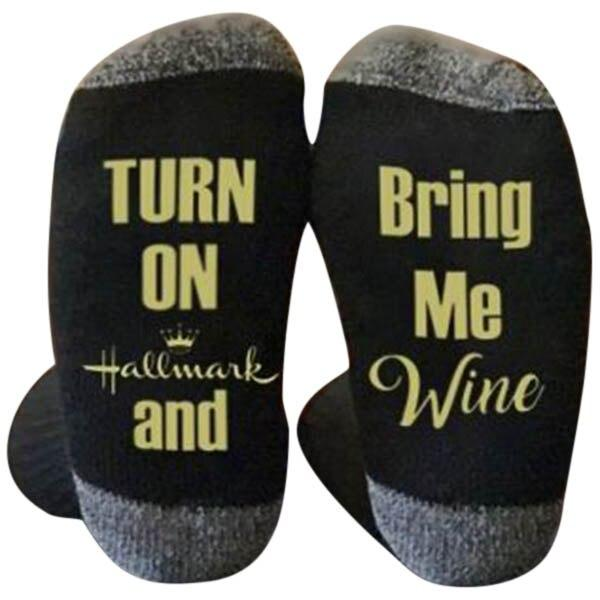 Hallmark Movies Soft Socks Letters Printed Women Winter Warm Socks Gifts - Buy Babby