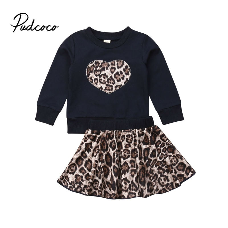 kids clothes 2020 autumn girls set long sleeve tops +leopard skirts children 2pieces tracksuit baby girl clothing baby outfit - Buy Babby