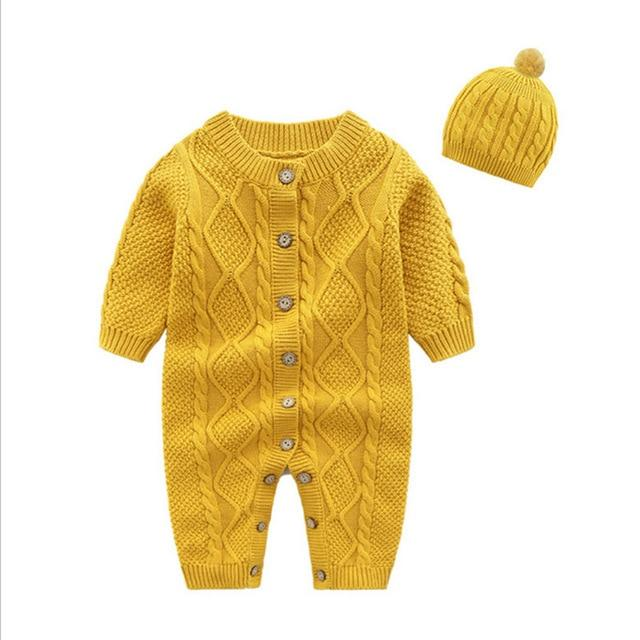 Knitted Newborn Baby Clothes Romper with Hat Infant for Kids Cotton Toddler Jumpsuit - Buy Babby