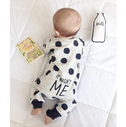 Newborn Baby Boy Girl Clothes It Wasn't Me Polka Dot Romper Jumpsuit Infant Clothing Set Outfits - Buy Babby