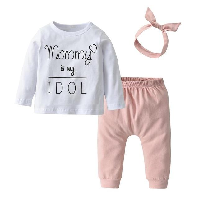 Newborn Baby Girl Clothes Daddy is my Hero Short Sleeve T-shirt Tops Pants Headband Toddler Summer Outfits Set - Buy Babby