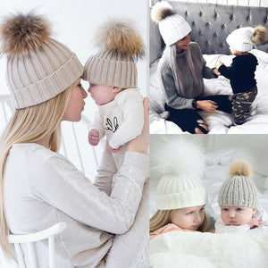 Parent Child Pom Pom Knit Beanie Hat Winter Hat for Mom and Baby - Buy Babby