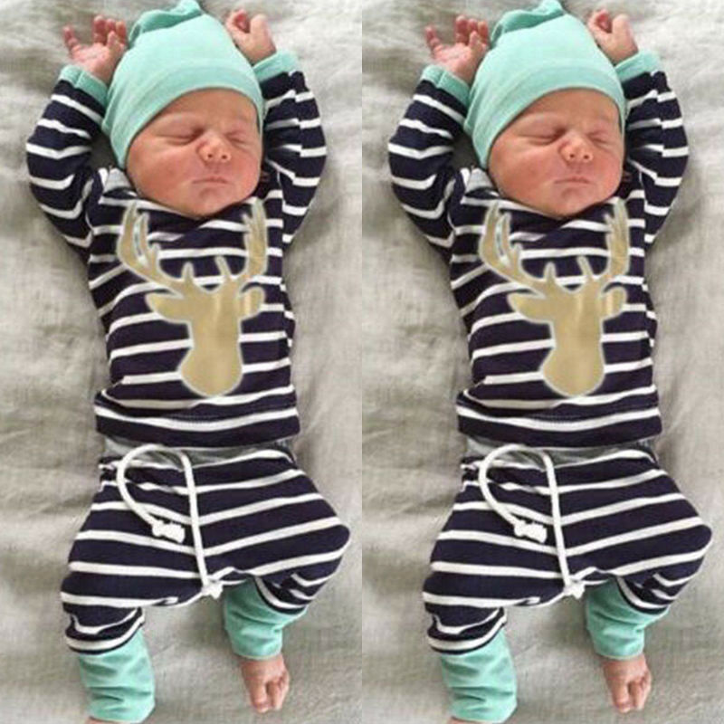 Newborn Baby Boys Long Sleeve Deer Top Striped Long Pants Hat Outfits Set - Buy Babby