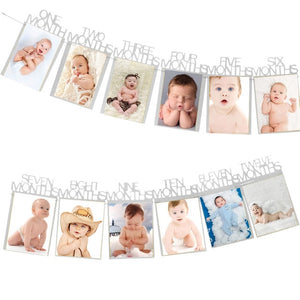 Baby Birthday Banners 12 Months Photo Bunting Baby Shower Paper Garland Boy Girl 1st Birthday Party Decoration Supplies - Buy Babby