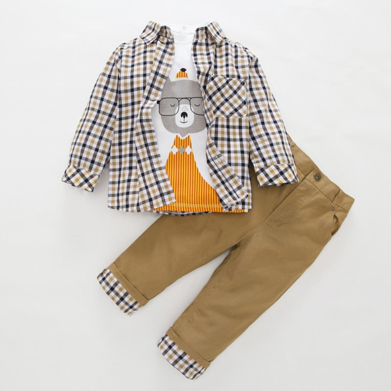 Baby Boy Clothes Gentleman Outfits Boy Plaid Print Shirt - Buy Babby