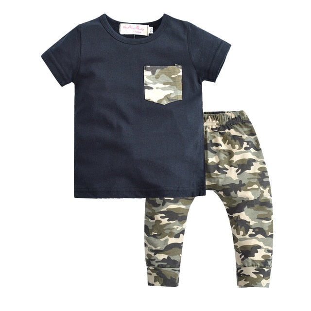 Summer Style Baby Boy Clothing Set Short sleeve Cartoon T-Shirt Camouflage Pants Newborn Boys Clothes Outfit - Buy Babby