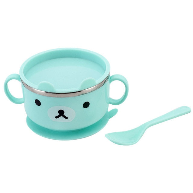 Baby Bowl Tableware Learning Cartoon Bear with Cover Baby Stainless Steel Suction Cup - Buy Babby