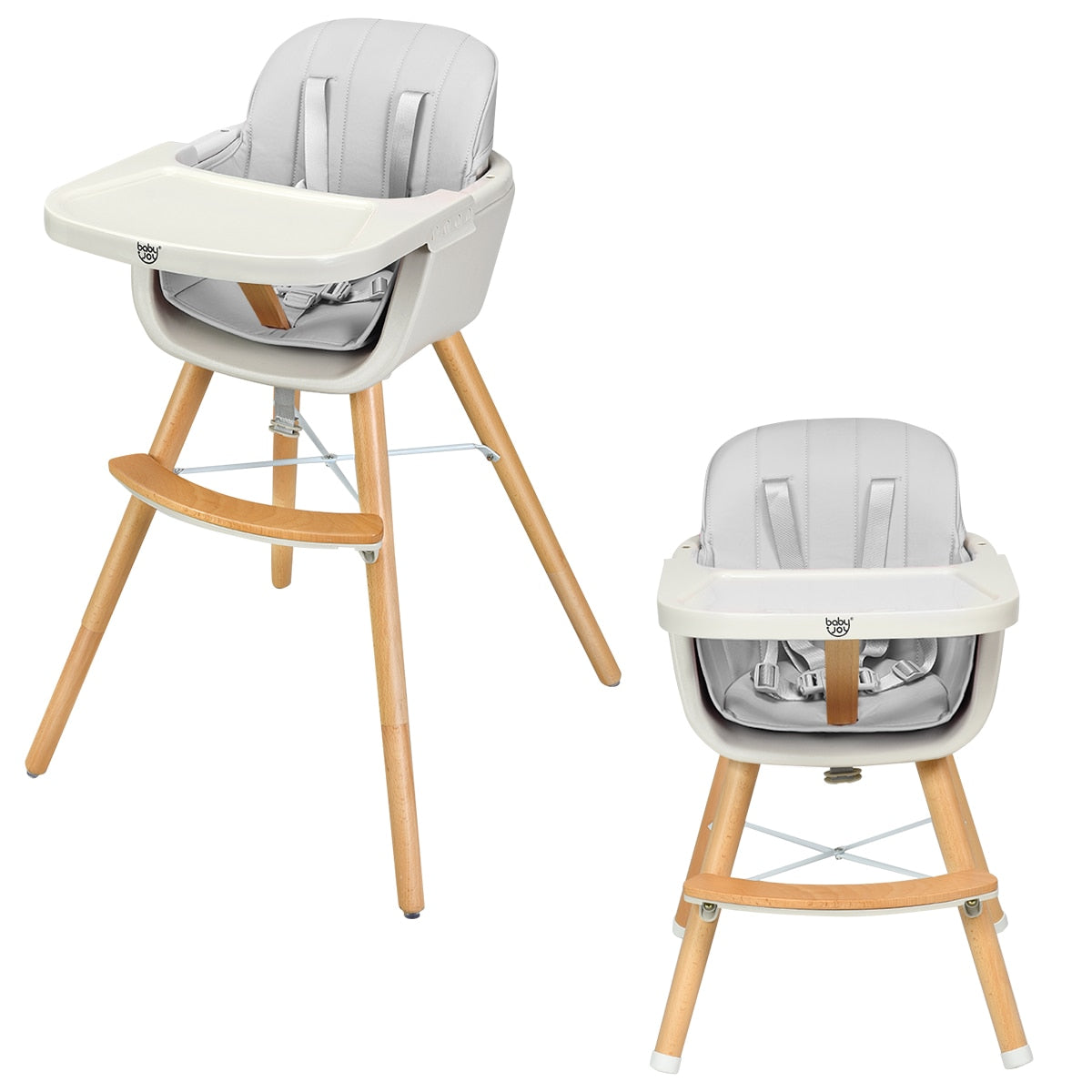 Convertible Wooden High Chair Baby Toddler Highchair w/ Cushion - Buy Babby